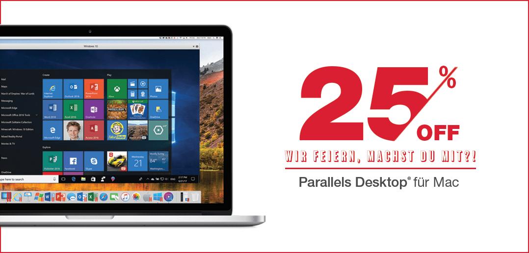 Parallels Desktop: 25 % Rabatt zu unserer Geburtstagsaktion 2018