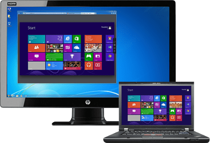 Remote desktop from desktop to laptop and vice-versa with Parallels Access.