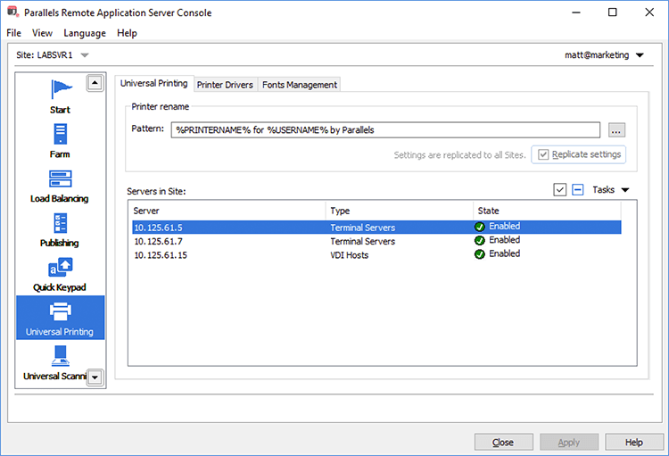 Universal Printing | Parallels Remote Application Server